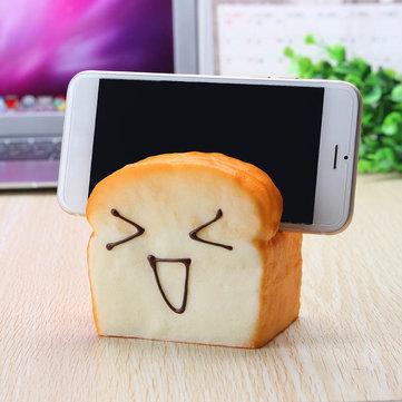 Jumbo Squishy 7 Seconds Slow Raising Slice Toast Joy Happy Faces Mobiltelefonstativ Mobiltelefonhållare