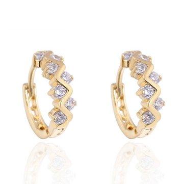 Aro de diamantes de imitación de cristal plateado de oro elegante Kuniu Pendientes para Mujer