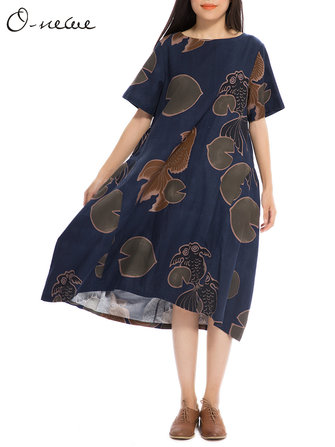 एल -5 एक्सएल विंटेज महिला लूज गोल्डफिश प्रिंटिंग ए-लाइन मिडी ड्रेस