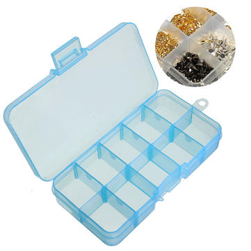 10 Slots Detachable Pill Box Adjustable Nail Decoration Case Cosmetic Organizer Compartment  Storage