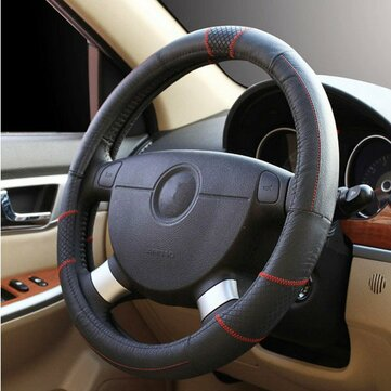 Car Genuine Cowhide Leather Steel Ring Wheel Cover for 15 Inches Wheel Size