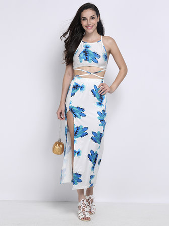 Sexy Two Pieces Floral Halter Backless Slit Beach Dress For Women