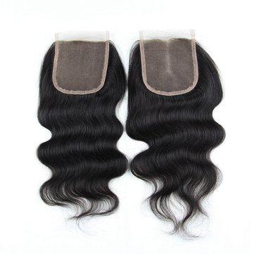 7A 4X4 Trinh tóc đóng cửa Trung Quốc Tóc con người Cơ thể sóng đóng cửa miễn phí Trung 3 phần