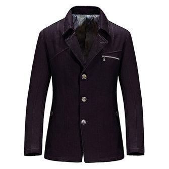 पुरुषों आरामदायक आरामदायक स्तनपान शुद्ध रंग स्लिम फ़िट सूट जैकेट ब्लेज़र