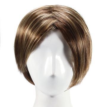 स्टाइलिश हाइलाइट सिंथेटिक विग प्राकृतिक घुंघराले बाल कैपेलेस साइड बैंग