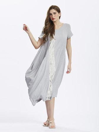 महिलाओं के लिए यूरोपीय शैली आरामदायक मुद्रित लिनन पोशाक