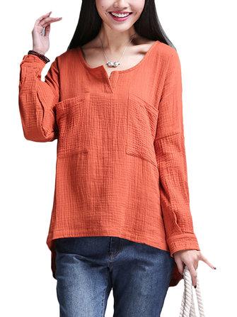 O-NEWE L-5XL Casual Women Double Pockets T-Shirt
