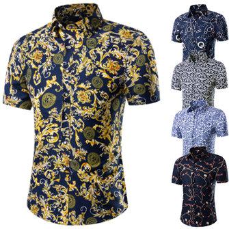 पुरुषों बड़े आकार पुष्प प्रिंट टर्न-डाउन कॉलर लघु आस्तीन आरामदायक समुद्र तट शर्ट