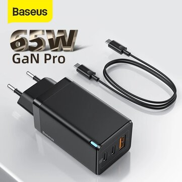 GaN Tech Baseus GaN2 Pro 65W 3 Port USB PD Charger Dual 65W USB C PD3.0 QC3.0 FCP SCP Fast Charging Wall Charger Adapter EU Plug US Plug With 100W 5A USB C to USB C Cable