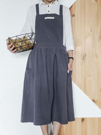 Japanese Style Cotton Linen Pure Color Crossback Crumpled Aprons Dress