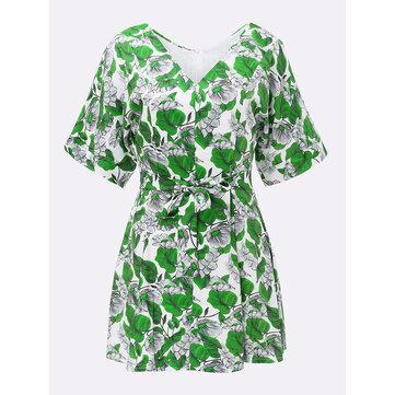 बो बेल्ट स्लिम पुष्प वी गर्दन महिला शिफॉन पार्टी मिनी ड्रेस