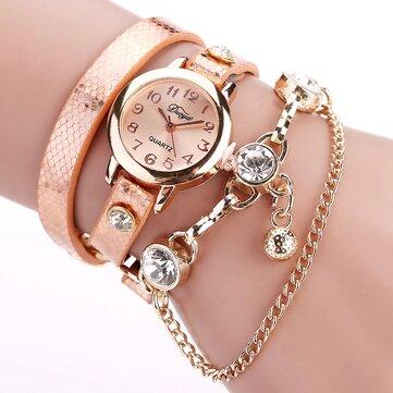 Đồng hồ đeo tay mặt dây chuyền phong cách retro DUYA Đồng hồ đeo tay dây chuyền vàng hồng