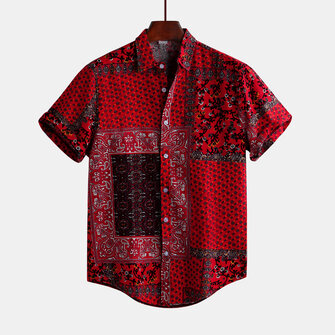 Mens Red Printed Summer Short Sleeve Ethnic Style Loose Casual Shirts