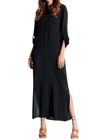 आरामदायक शुद्ध रंग लंबी आस्तीन महिला मैक्सी पोशाक