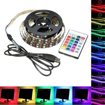 1M 2M 3M 4M USB 5V 5050 60SMD / M RGB LED luz de la tira de iluminación trasera kit de iluminación + 24Key Control remoto