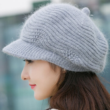 Women Wool Knitted Warm Octagonal Cap Solid Flexible Casual Hats