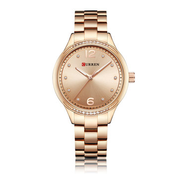 CURREN 9003 Crystal Casual Style Women Wrist Watch Stainless Steel Quartz Watches