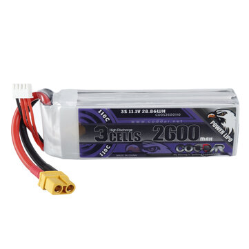 CODDAR 11.1V 2600mAh 110C 3S XT60 Plug High Discharge Lipo Battery for RC Drone