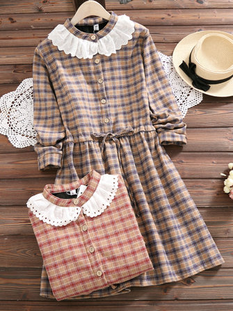 Mori Girl Long Sleeve Plaid Drawstring Waist Thick Dress