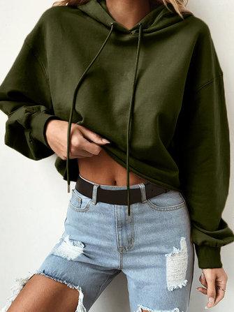 Women Casual Loose Short paragraph Soild Color Long Sleeve Sweatshirt