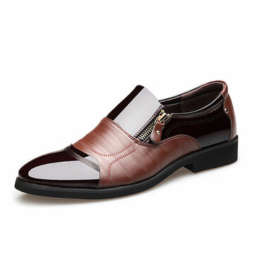 Män Comfy Pointed Toe Leather Business Formella Skor