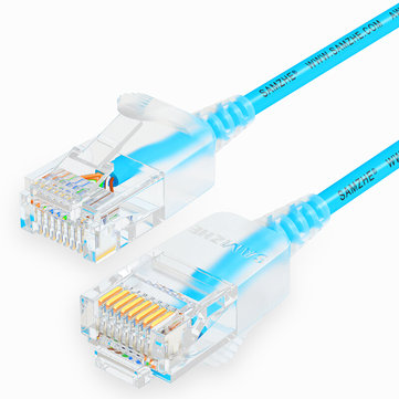 SAMZHE 0.5~5M 10Gbps Ultrafine CAT6A Blue Ethernet Patch Cable Slim LAN Networking Cable