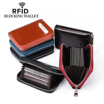 RFID Men Women Genuine Leather 12 Card Slot Wallet Short Coin Purse