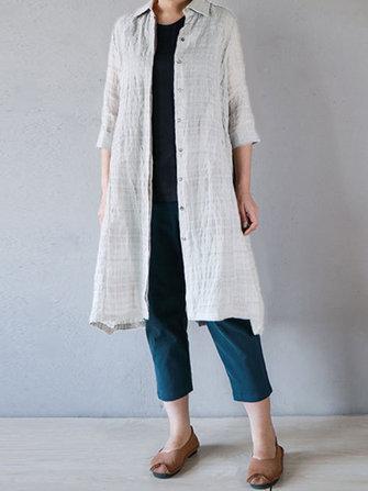 Casual Women Cotton Turn-Down Collar 3/4 Sleeve Plaid Button Long Cardigans