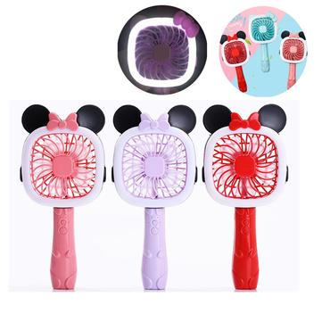 2 in 1 U16 2Modes USB Rechargeable Kitty & Mickey Mini Fan & LED Table Light Portable Flashlight