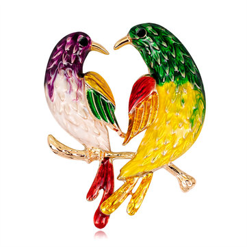 Sweet Birds Brooches Rhinestones Colorful Oil Painting Birds Colthing Brooch Pin for Women Men