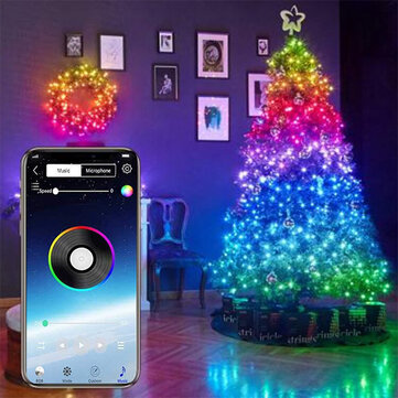 4-FQ Fairy Lights Led String Lights Plug in for Indoor Outdoor Twinkle Lights USB 32.8FT Hanging Curtain String Lights Color Changing Music Sync Bluetooth APP Phone Starry Lights Bedroom - 2m 20LEDS