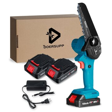 Doersupp 88VF 7500mAh 5 Inch Rechargeable Electric Chain Saw Chainsaw Woodworking Tool W or None or 1pc or 2pcs Battery Also Adapted To Makita Battery