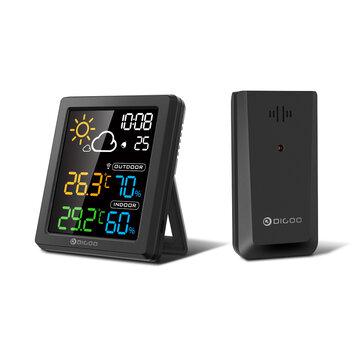DIGOO DG-8647 Mini HD Color Screen LCD Weather Station Alarm Clock Smart Hygrometer Thermometer Snooze Dual Desktop Clock - Black