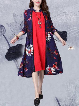 विंटेज महिला पुष्प मुद्रित सिलाई लंबी आस्तीन स्टैंड कॉलर पोशाक