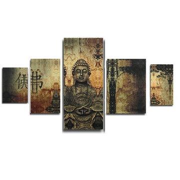 Enorme arte moderno de la decoración de la pared de Buda pintura al óleo abstracta de la lona sin marco