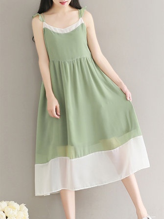 Cute Women Strap Sleeveless Patchwork Chiffon Loose Dresses