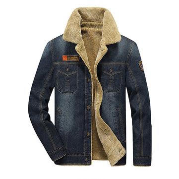 पुरुषों मोटी डेनिम टर्न-डाउन कॉलर मल्टी पॉकेट शीतकालीन फैशन आरामदायक सोलिड कलर कोट