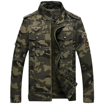 Mens Camo Printing Military Jacket Stand Collar Cotton Outdoor Epaulet Coat