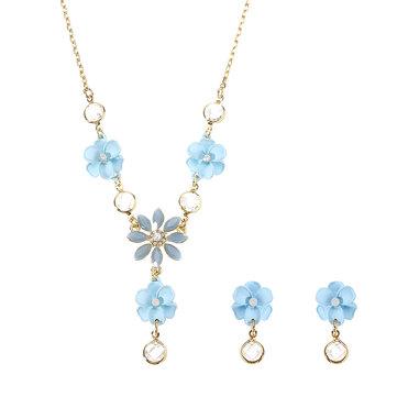 JASSY® Elegant Blue Flower Jewelry Set Pearl Zirconia Anallergic Necklace Earrings for Women