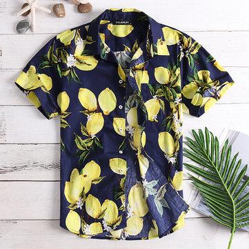 Mens Fruit Printing Sommar Casual Vacation Mode Skjortor