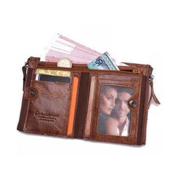 Men Genuine Leather ID Credit Card Holder Clutch Bifold Coin Pocket Purse Wallet Mini Card Phone