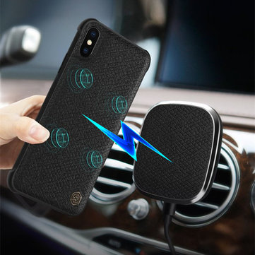 NILLKIN Leather 5W Qi Wireless Charge Powerful Magnetic Car Holder with Phone Case for iPhone X 8