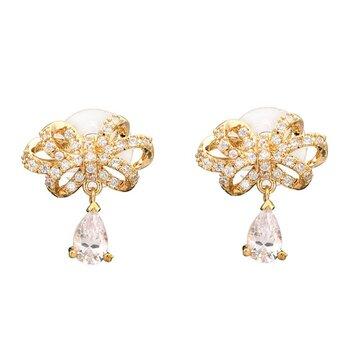Sweet Bowknot Water Drop Zircon Ear Stud Earrings For Women