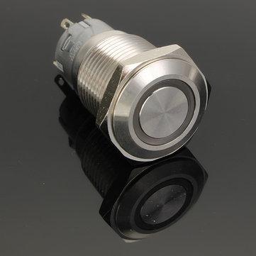 12V 16mm Latching Angel Eye LED Push Button Switch Flat Head Metal illuminated Push Button Switch