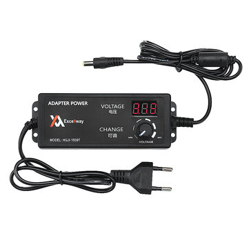 Excellway® 4-24V 2.5A 60W AC/DC Adjustable Power Adapter Supply EU Plug Speed Control Volt Display