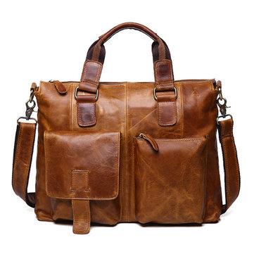 Ekphero Genuine Leather Crossboby Bag Retro Dual Use Big Capacity Handbag For Man