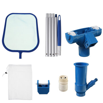 Pool Water Cleaning Kit Swimming Vacuum Cleaner Leaf Skimmer Tool Set Removable Tools