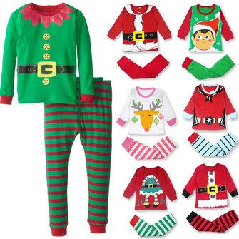 शीतकालीन क्रिसमस बेबी किड्स चिल्ड्रेन कपास टोडलर क्रिसमस सांता गिफ्ट सूट नाइटवियर पजामा स्लीप