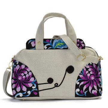 National Style Embroidered Women Cotton Handbag