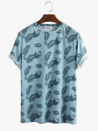Men Tropical Plant Leaves Print Crew Neck Short Sleeve Home Casual T-Shirts for sale in Litecoin with Fast and Free Shipping on Gipsybee.com